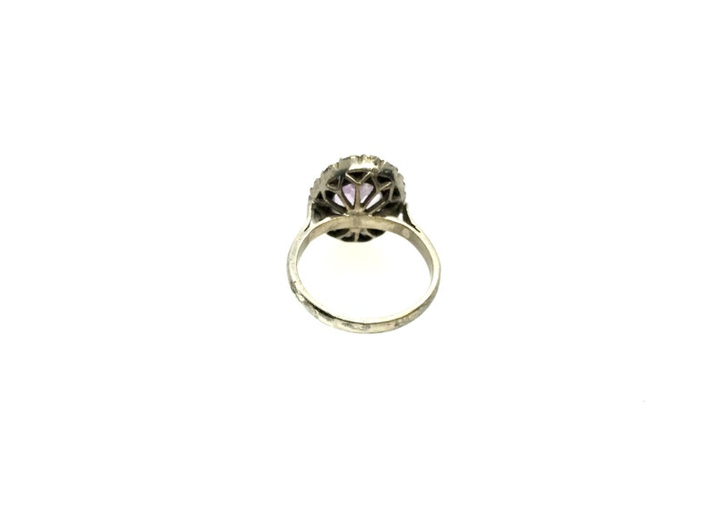 Antique Victorian Sterling Silver Natural Amethyst /& Clear Paste Stone Ring Size \u2013 OP