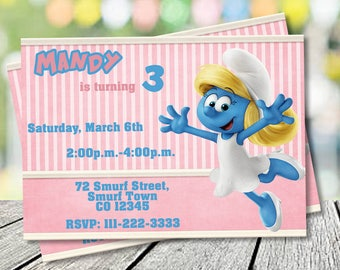Smurfs invitations Etsy