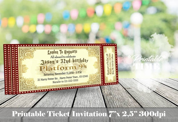Harry Potter Birthday Invitation Ticket