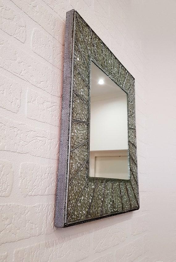 Kleine rechteckige Silber Spiegel für Wand gerahmt mit Glas   Etsy