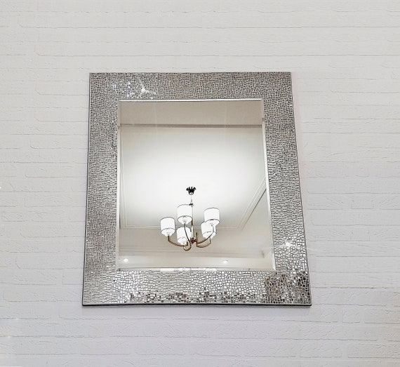 Large wall mirror with mosaic frame 37 x 34/   Etsy
