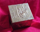 Brass Tea Caddy Box Welsh Lady and Crinoline Ladies, Copper lined