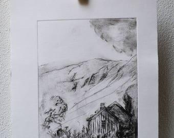 """Drypoint """"Mountain Idyll"""""""