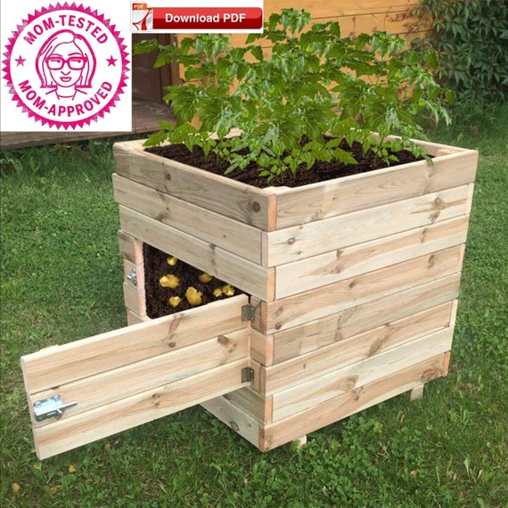 Potato Planter Box Plan Planter Box Plan Pdf Plan Garden Box Etsy