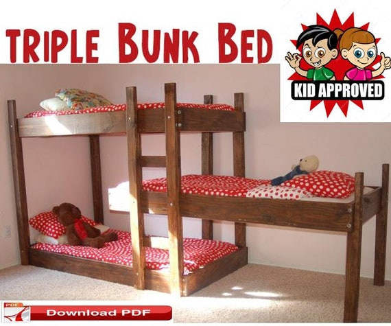 Triple Bunk Bed Plans Diy Twin Beds Pdf Kids Bed Plans Etsy