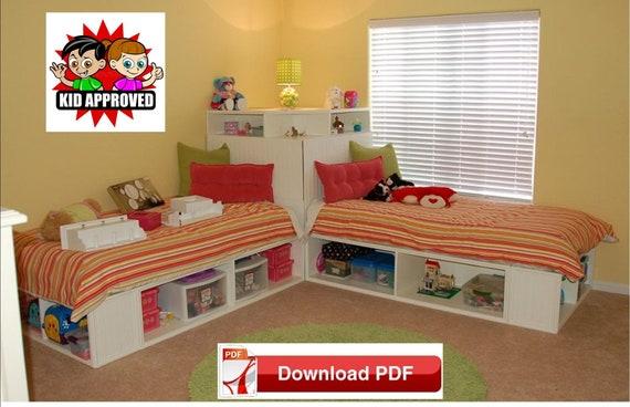 Etagenbett Dreifach : Etagenbett option einzelbett pläne einzelbetten mit lagerung etsy