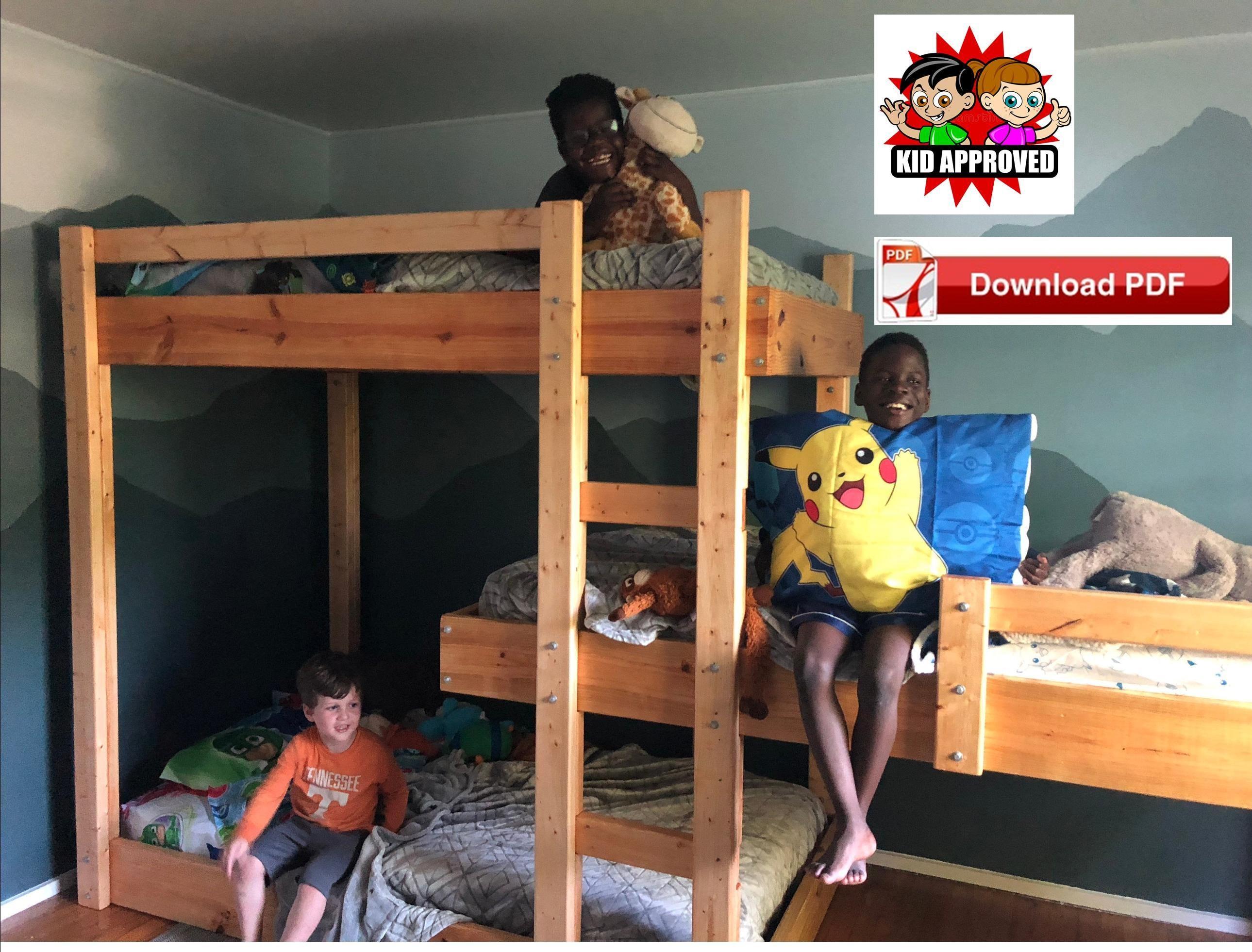 Triple Bunk Bed Plans Diy Twin Beds Plan Pdf Plan Kids Bed Etsy