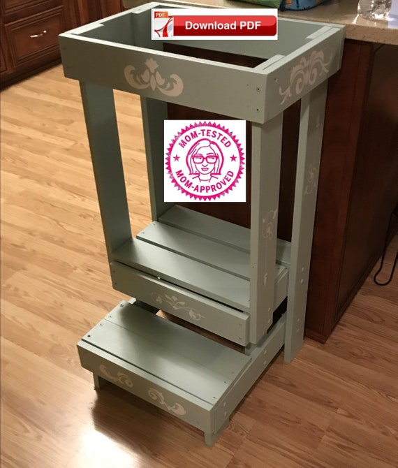 Astonishing Safe Cooking Tower Plan Diy Montessori Kitchen Helper Pdf Plan Safe Step Stool Plan Safe Toddler Tower Plan Kids Safe Kitchen Step Stool Creativecarmelina Interior Chair Design Creativecarmelinacom