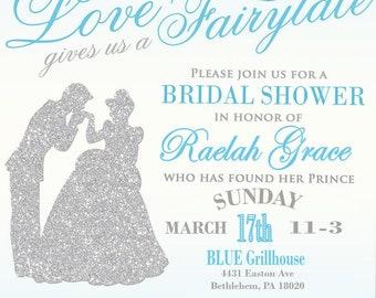cinderella themed bridal shower invitation