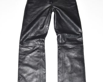 Vintage Black Genuine Leather PRESS BASTYAN Straight Biker Women s Trousers  Jeans Pants Size UK12 L31