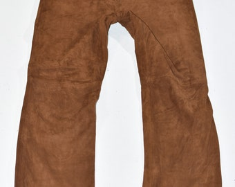 Vintage Black Genuine Leather Biker Motorcycle Straight Women/'s Trousers Pants Size UK16 US12 W32 L31
