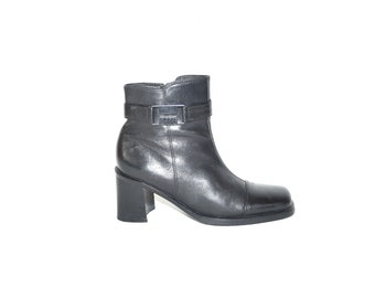 a045ed4a6efa Vintage Black Genuine Leather SHAPE BY ECCO Ankle Boots Zip Mid Heel  Women s Boots Size UK3 EU36 US5.5
