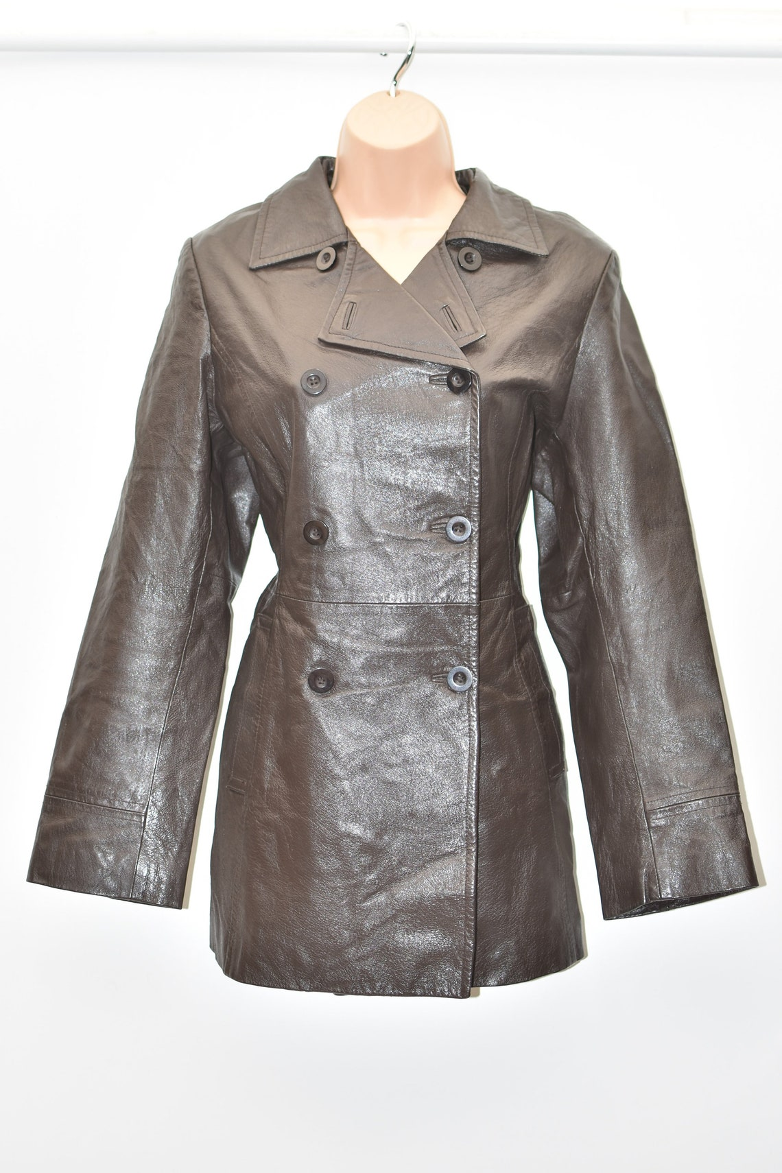 Vintage Brown Genuine Leather Authentic Military Biker Hips Length Double Breasted Women's Coat Jacket Size Uk14 Us10