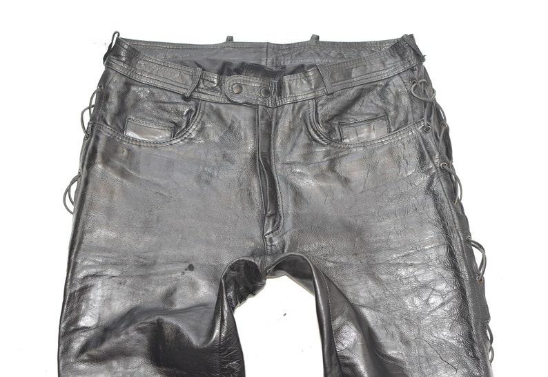 Vintage Black Genuine Leather POLO Lace Up Motorcycle Biker Men/'s Trousers Pants Size W37 L31