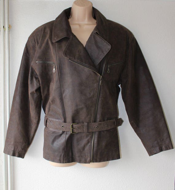 Vintage Brown Genuine Leather FRONT LINE Bomber Be