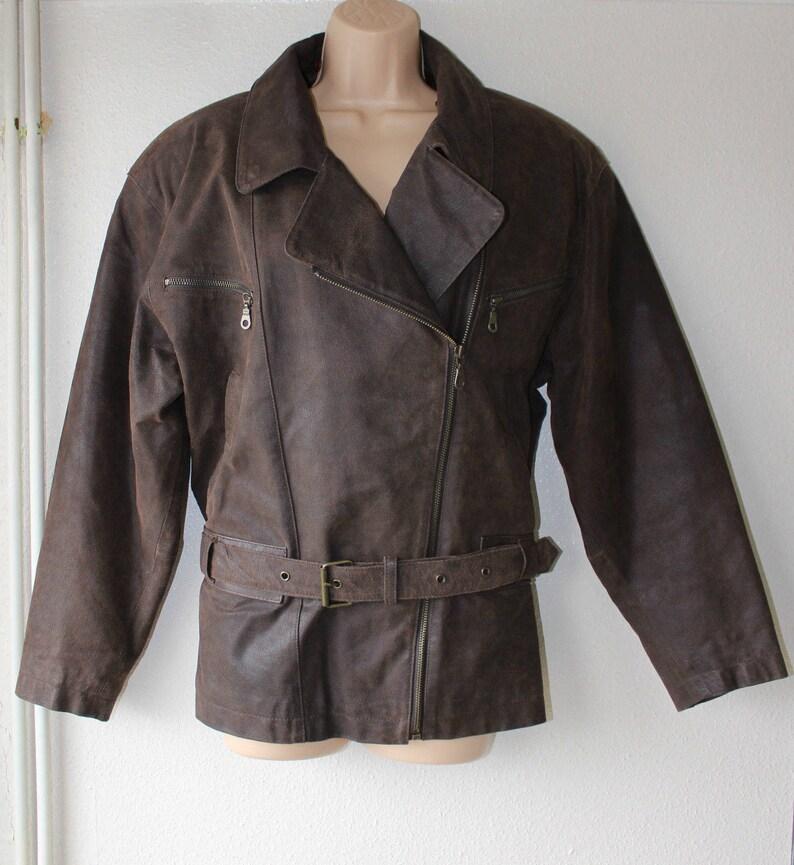 Vintage Brown Genuine Leather FRONT LINE Bomber Belt Biker image 0