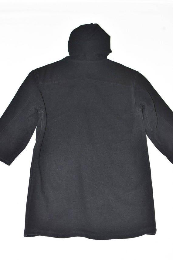 NEW Length Black Knee 100 Hooded Duffle Overcoat Vintage Jacket Women's YORK Size Wool L Coat qtn8Ad50w