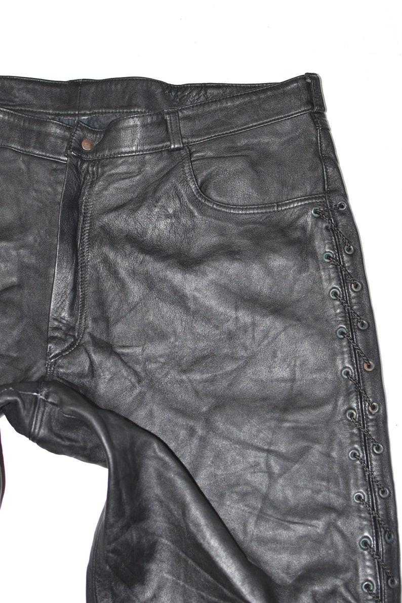 Vintage Black Genuine Leather Lace Up Biker Motorcycle Men/'s Trousers Pants Size W39 L31
