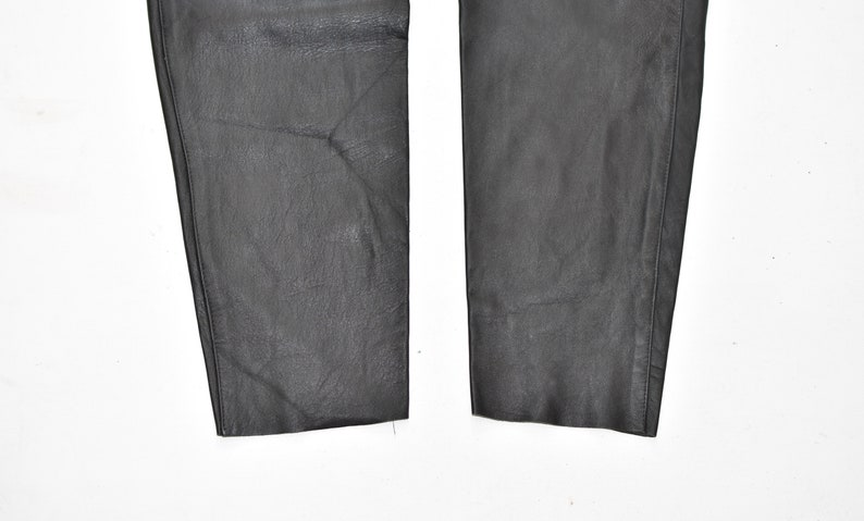 Vintage Black Real Leather Pleated Tapered Biker Women/'s Trousers Pants Size UK14 W29 L31
