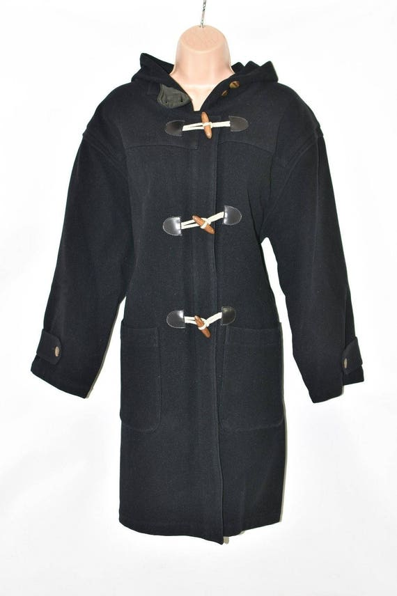 YORK Jacket Vintage Hooded Overcoat Size Wool Length Black Coat L NEW Duffle Knee 100 Women's qYpY7wrnI
