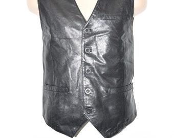 Vintage Black Genuine Leather SAKI Button Western Biker Motorcycle Casual Men's Vest Waistcoat Size L