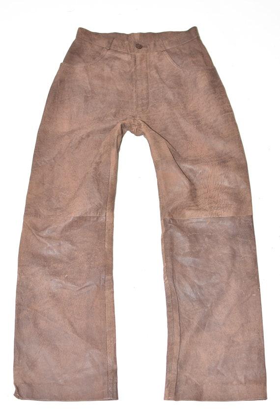 Vintage Brown Genuine Leather ENJOY Straight Biker Casual Women/'s Trousers Pants Size UK10 W27 L30