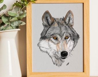 Wolf Wall Art Print Etsy