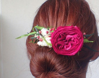 Floral hair comb pink stabilized. Bridal hair accessories.