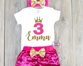 ff4ae51ebd5ff 3 Year Old Birthday Outfit Toddler Clothing Toddler Outfit Personalized  Third Birthday Outfit Girl 3rd Birthday Outfit Sequin Shorts