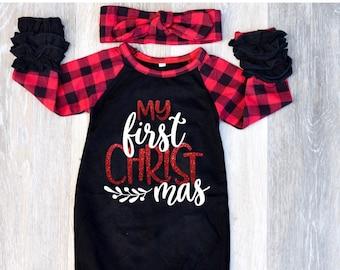 baby christmas pajamas newborn christmas outfit baby christmas outfit girl buffalo plaid buffalo plaid gown my first christmas outfit