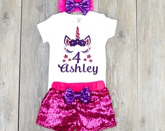 Unicorn 4th Birthday Outfit Girly Personalized Pink And Purple Shirt