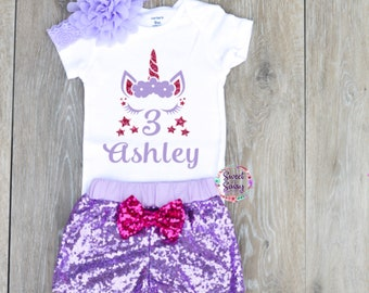 Unicorn 3rd Birthday Outfit Girl Summer Party Shirt