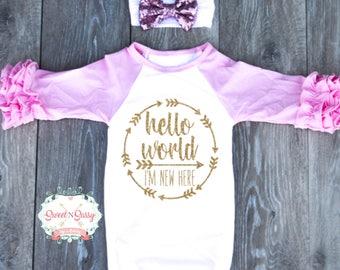 Bonjour monde maison tenue bébé fille venue emporter tenue tenue taille naissance, ZG200