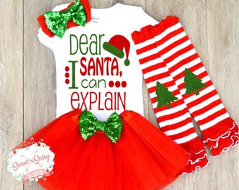 Dear Santa I Can Explain Outfit, Cute Christmas Outfit, Baby Girl Christmas Outfit, Naughty Nice Christmas Z18