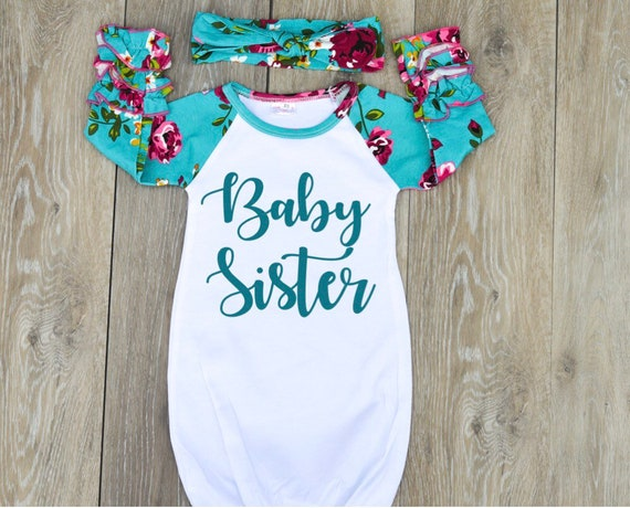 8eb586ddefe66 Baby Sister Gown Newborn Sleeper Baby Sister Outfit Little | Etsy