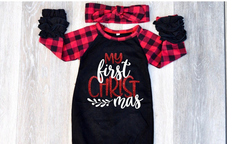 Newborn Christmas Outfit Girl.Baby Girl Clothes Newborn Christmas Outfit Girl Baby Christmas Outfit My First Christmas Outfit Girl Buffalo Plaid Baby Outfit