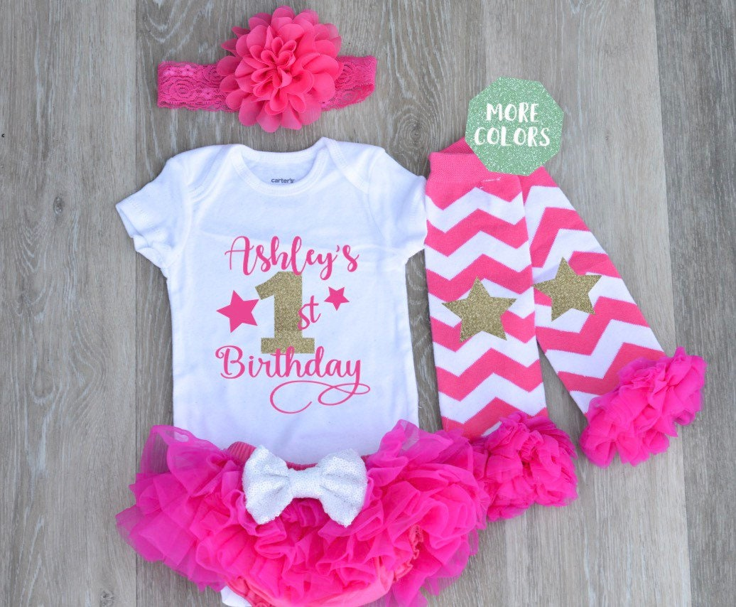 97918b53c Hot Pink First Birthday Outfit Girl 1st Birthday Girl Outfit | Etsy
