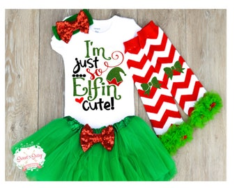 Christmas outfit baby girl, baby first Christmas, cute baby Christmas outfit, headband, leggings, and tutu optional Z12