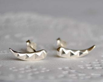 4be0b8042 Simple sterling silver stud earrings. Minimalist spike goth earrings.  Tribal horn earrings. Mens tusk punk earrings. Edgy arc earrings
