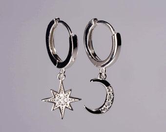 84689365e Small huggie hoop earrings. Sterling silver moon and star charm hoop  earrings. Gold star hoop earrings. Minimalist dainty moon earrings