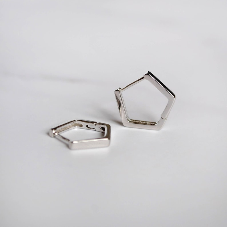 Simple mens hoop Small pentagon hoop earrings Dainty gemstone earring Handmade unique hoop earrings Sterling silver huggie hoop earrings