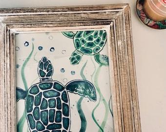 Sea turtle watercolor print