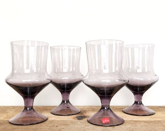 47b5629215f4 Vintage Denby Milnor Sweden Flare Lavender Purple Water Goblets - Wine Tea  Glass Set - Set of 4