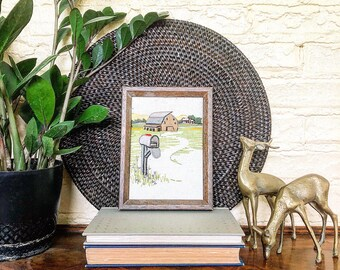 Vintage Framed Rural Landscape Scene Crewel Embroidery Piece