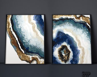 Set Of 2 Prints Agate Wall Art Print Modern Living Room Dining Bedroom Decor Rock Marble Gemstone Crystal Office