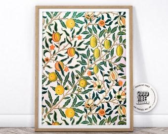 Vintage Fruit Poster, Abstract Art Print, Vintage Fruits Print, Office Decor, Citrus Wall Art, Wall Kitchen Decor, William Morris Poster