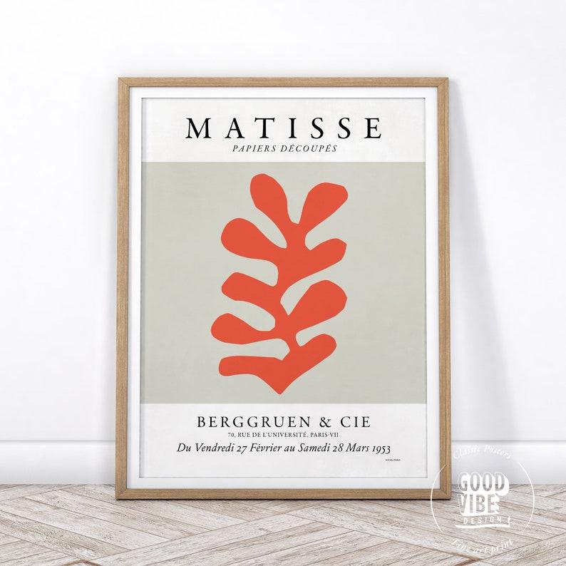 Christmas Gift Neutral Print Matisse Leaf Print Minimalist Wall Art Matisse Poster Mid Century Modern