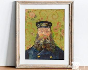 Vincent Van Gogh Portrait, Vintage Wall Art, Post Impression Art, Van Gogh Reproduction, Van Gogh Poster, The Postman, Joseph Roulin 1888