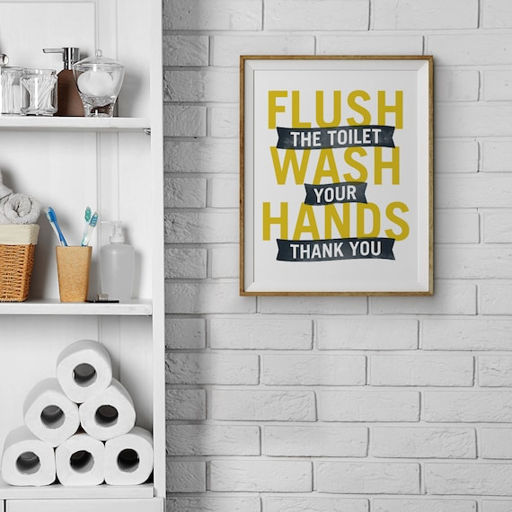 Bathroom Wall Art Printable Signs Rules Flush Toilet Wash Hands Kids Room Downloadable Print Restroom Wall Art Office Home Poster Decor