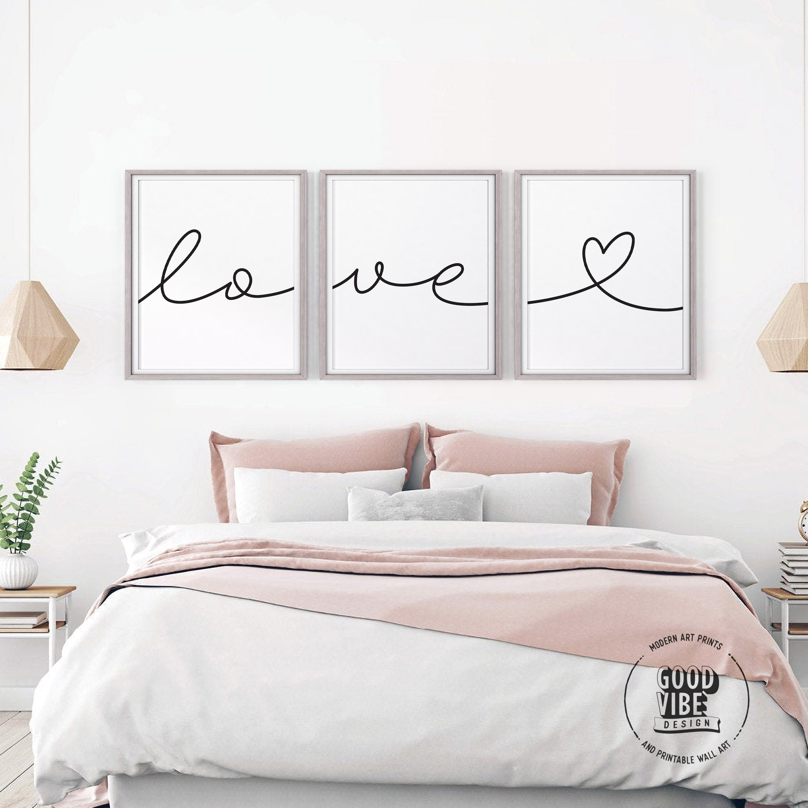 Above Bed Quote Couples Wall Prints Love You More Sign Bedroom Wall Decor Couple Quote Set of 3 Prints Bedroom Art Bedroom Prints Set